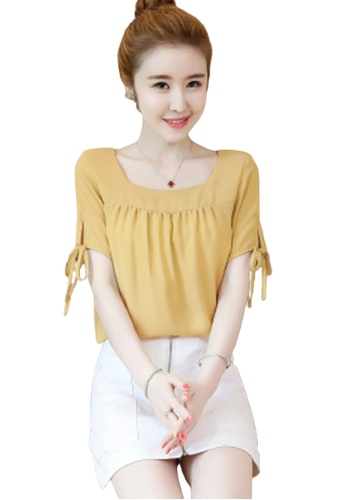 Halo yellow Sweet Square Neck Tops 59A23AAB6155E5GS_1