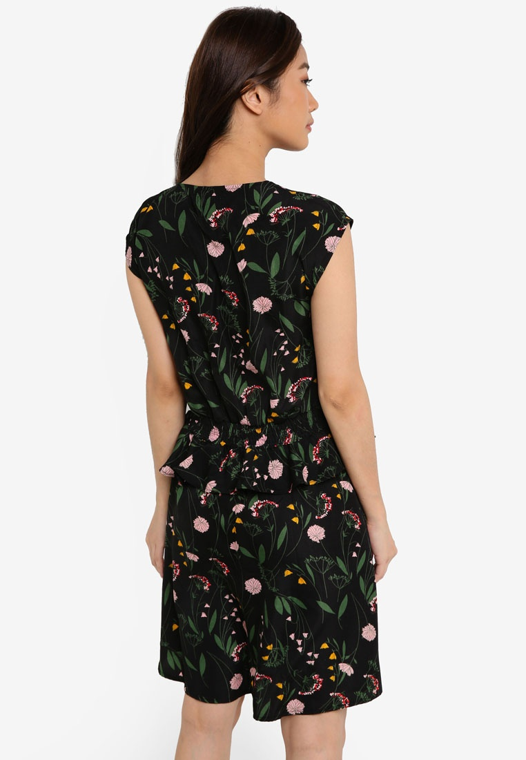 Dress ZALORA Floral Dark V Peplum Based Neck Detail 8wH07ntq
