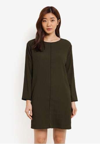 ZALORA green Piping Detail Shift Dress 59AC8AAE7E3785GS_1