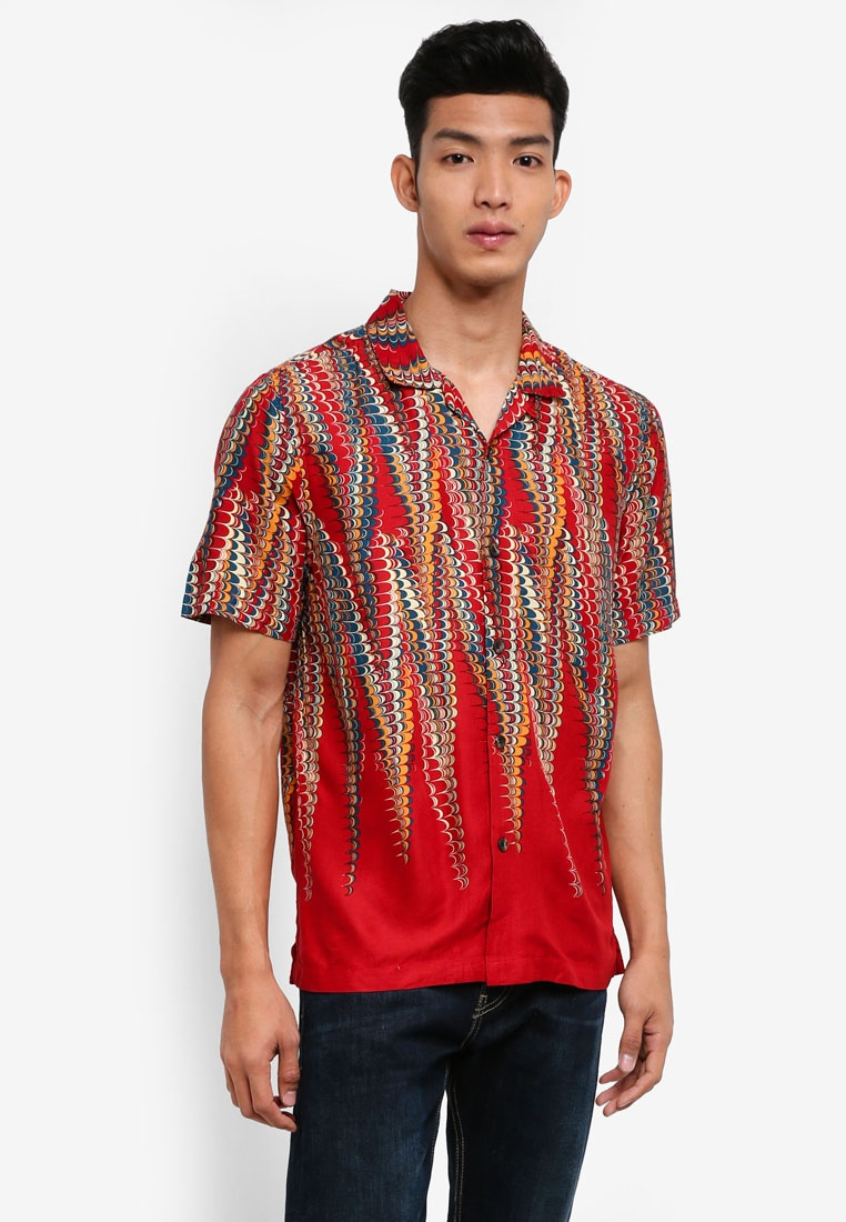 Sleeve Red Topman Marble Short Shirt Red Exg86Y7qw
