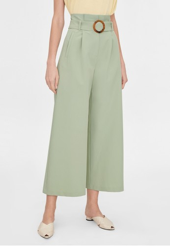 Pomelo green Paper Bag Belted Pants - Green D4453AADCE081EGS_1