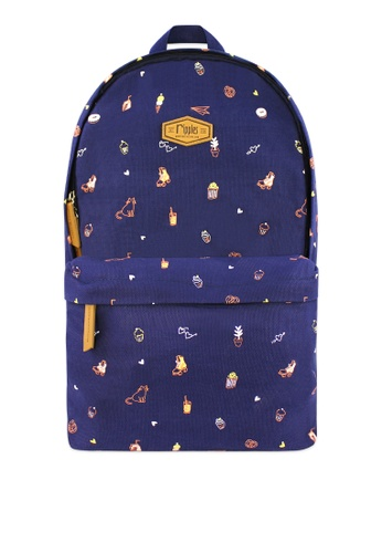 Ripples blue Tiny Things Canvas Backpack 128D9AC8240639GS_1