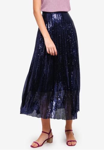 46c9dbfb82 Buy BYSI Sequin Pleated Maxi Skirt Online | ZALORA Malaysia
