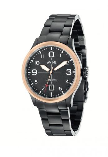AVI-8 black Flyboy Men's Stainless Strap Watch AV642AC30JTHPH_1