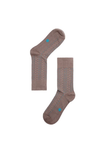 Life8 brown MIT Contrast Color Geometry Cotton Socks-05138-Coffee LI286SH84PAHMY_1