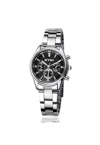 Eyki silver and brown Eyki EET8581 Steel Couple Watch One pair (Silver Black) EY078AC80RODMY_1