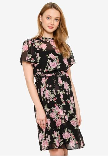 Dorothy Perkins black Maternity Floral Chiffon Fit & Flare Dress 8C7EFAA7BC5AFFGS_1