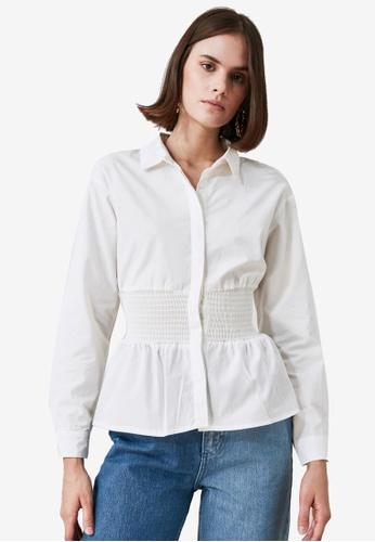 Trendyol white Shirred Waist Detail Blouse 1B235AA61EBD77GS_1