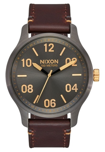Nixon grey and brown and gold Patrol Leather 42mm - Gunmetal/Gold (A1243595) 67D44ACDA8AB8AGS_1
