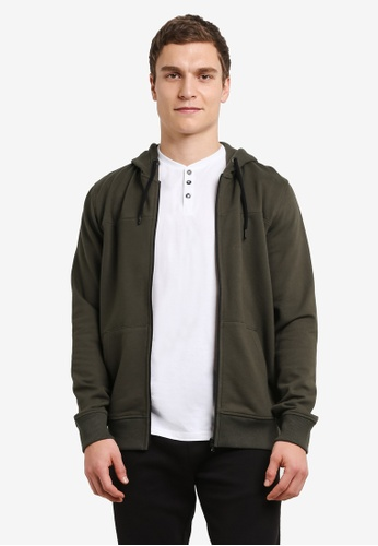 Burton Menswear London green Khaki Zip-Through Hoodie BU964AA0SHO8MY_1