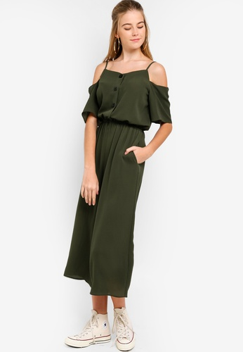 20d4d3875467 Buy Something Borrowed Cold Shoulder Buttoned Down Jumpsuit Online on ZALORA  Singapore
