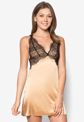 絲綢蕾絲深V zalora退貨領睡裙, 服飾, 服飾