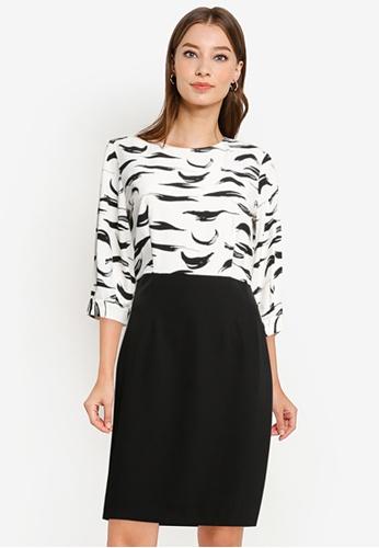 ZALORA WORK black and white 3/4 Sleeve Contrast Dress B5799AA1E1DE53GS_1