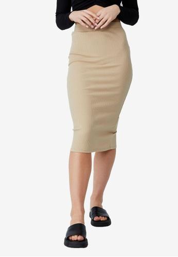Cotton On beige Essential Rib Tube Skirt BAF92AA40D11BEGS_1
