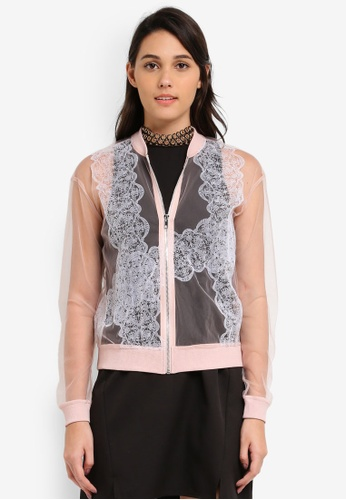 Something Borrowed pink Lace Print Mesh Bomber Jacket F2C37ZZB4BABF2GS_1