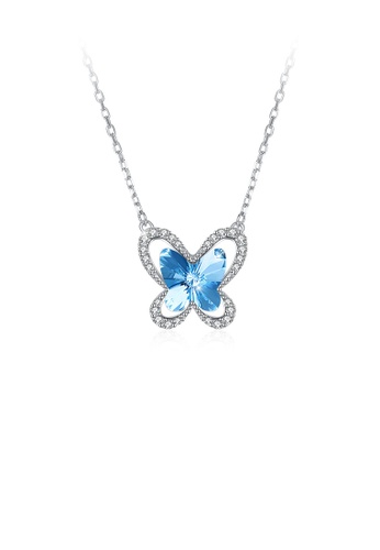 Glamorousky blue 925 Sterling Silver Fashion Elegant Butterfly Necklace with Blue Austrian Element Crystal 0007FACA8C7C08GS_1