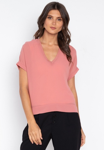 MEMO pink Chiffon Shirt With V-Neck 4746AAAC90E955GS_1