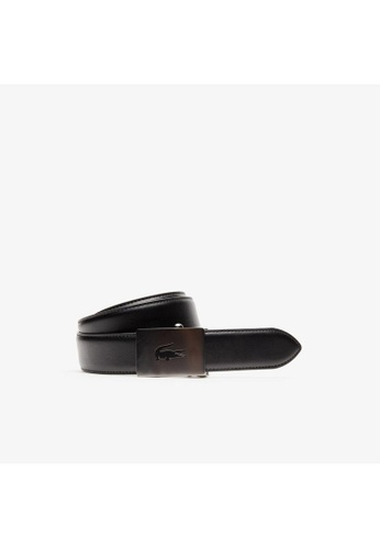 Lacoste black Lacoste Men's Lacoste Engraved Plate Buckle Leather Belt-RC4010 50142AC13AEBE9GS_1