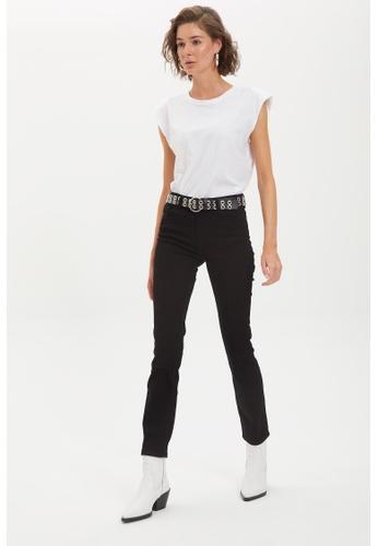 DeFacto 黑色 High Waist Straight Jeans 3C65DAADB4B4AEGS_1