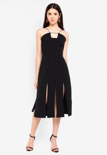 Glamorous black Cami Split Hem Dress B57ABAAE62D571GS_1