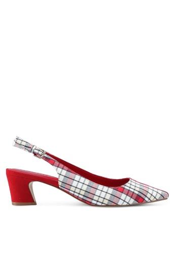 Mango red Slingback Checkered Heels 796D9SH2F21B39GS_1