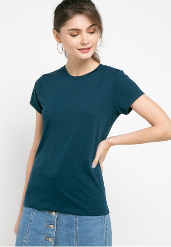 Tolliver green Round Neck Basic Short Sleeve Tee 5F62DAA5C25F3EGS_1