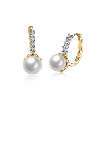 Glamorousky white Elegant and Romantic Plated Champagne Gold Round Pearl Earrings with Cubic Zircon 67C45AC6CDBFD9GS_1