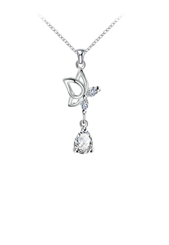 Glamorousky white Simple Butterfly Pendant with Cubic Zircon and Necklace 6334CACAAA9B4EGS_1