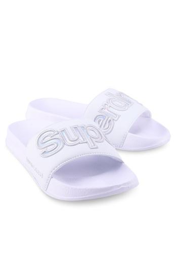 SUPERDRY black and white 90S Pool Slide 48481SH650B6E1GS_1
