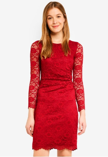 Wallis Red Berry Lace Ruched Shift Dress B97baaa4990663gs 1
