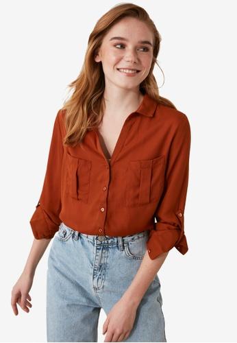 Trendyol orange Double Pocket Detail Shirt 3DBF3AAF71F59CGS_1