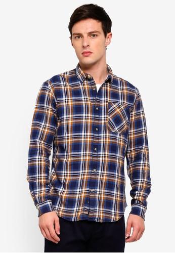 ESPRIT multi and navy Woven Long Sleeve Shirt 841CBAAFBF17FCGS_1