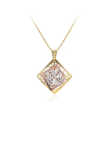 Glamorousky silver Elegant Plated Gold Cutout Geometric Four-leafed Clover Pendant with Necklace 6D553ACA823A0FGS_1
