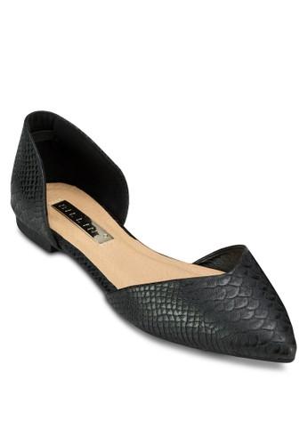 Demi 蛇zalora 心得紋側空尖頭平底鞋, 女鞋, 鞋