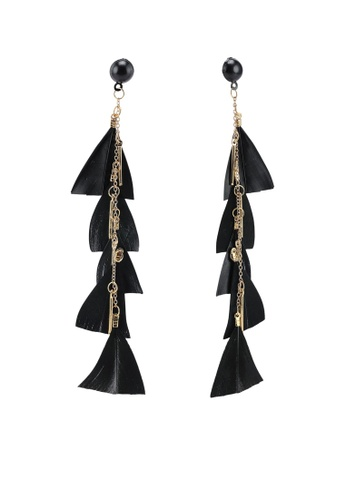 Red's Revenge black Cascading Cut Feather Statement Earrings 2803AAC96C48D1GS_1