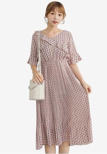 Tokichoi pink Floral Ruffled Sleeve Dress 2C5C6AA8380458GS_1
