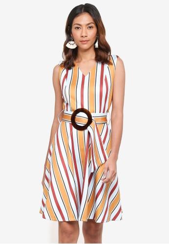 bYSI yellow Stripe Ring Belt Flare Dress 24E82AAF92CA4EGS_1