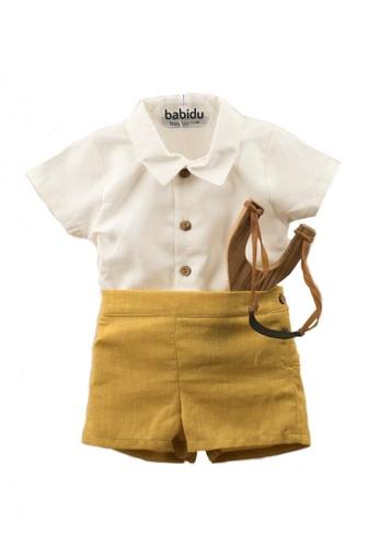 RAISING LITTLE white and yellow Robi Outfit Set D4B22KA07DD6BEGS_1