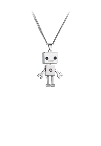 Glamorousky black Fashion Creative Robot Pendant with Black Cubic Zirconia and Necklace 576FBAC9F68961GS_1