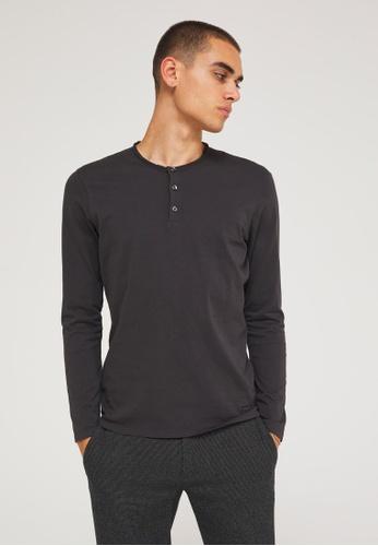 Sisley grey Regular Fit Henley Shirt 65577AA3FD8079GS_1