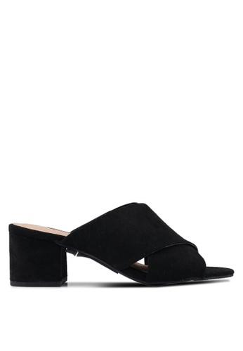 Dorothy Perkins 黑色 交叉繞帶粗跟鞋 9D842SH00B2698GS_1