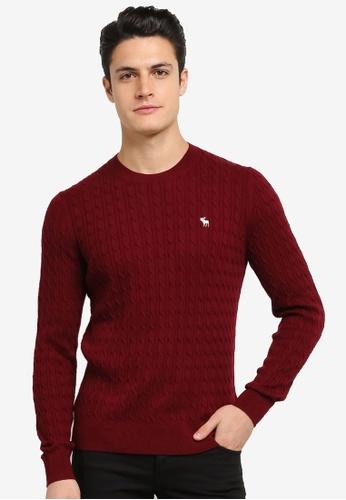 Abercrombie & Fitch red Crew Neck Logo Sweatshirt AB423AA0SJNFMY_1