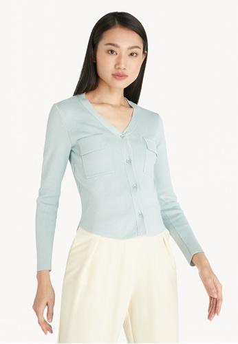 Pomelo blue Double Pocket Knit Cardigan - Blue B2E52AA840DACFGS_1