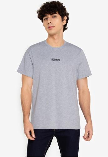 ZALORA BASICS grey Ok Thx Bye T-Shirt 51039AA68C9864GS_1