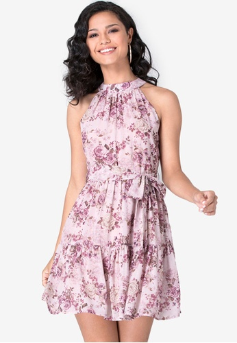 FabAlley pink Floral Belted Halter Maxi Dress 4F202AA8937800GS_1