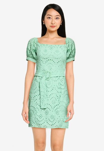 ZALORA BASICS green Square Neck Dress A5886AAEB403D0GS_1