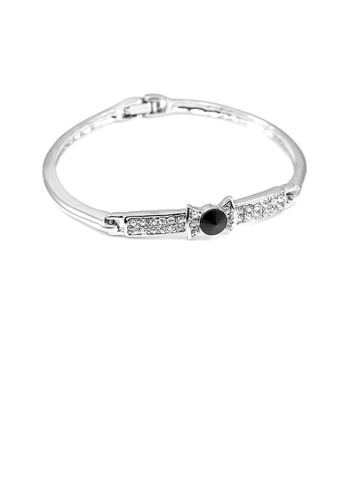 Glamorousky silver Elegant Bow Tie Bangle with Black Austrian Element Crystal 65CD2AC3E53439GS_1