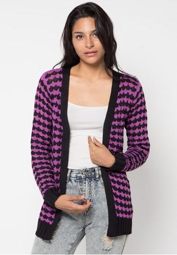 VOYANT BY MEGUMI black and purple Cardigan Ringgo Stripe VO505AA48YLBID_1
