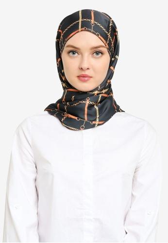 Hijabii green Lisa Stripe Shawl in Dark Green 831A2ACB880EDFGS_1