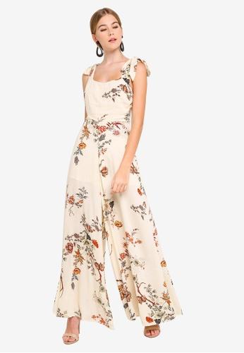 INDIKAH beige Shoulder Tie Floral Jumpsuit D0E93AA56637DAGS_1